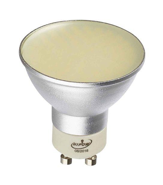 Ampoule LED GU10 à 80 SMD 5W 310Lm (équiv 30W) Blanc Chaud 120° HIPOW - GU10 - siageo-led.com