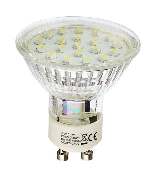 Ampoule LED GU10 à 20 LEDs 1W Blanc Froid HIPOW - GU10 - siageo-led.com