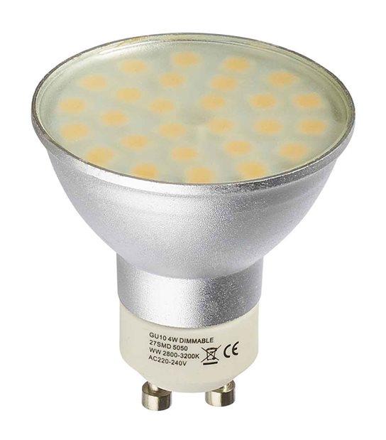 Ampoule LED GU10 Dimmable à 27 SMD5050 4W 280Lm (équiv 31W) Blanc neutre 150° HIPOW - GU10 - siageo-led.com
