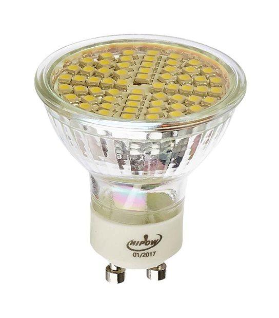 Ampoule LED GU10 à 60SMD 3W 250Lm (équiv 30W) Blanc neutre 120° HIPOW - GU10 - siageo-led.com