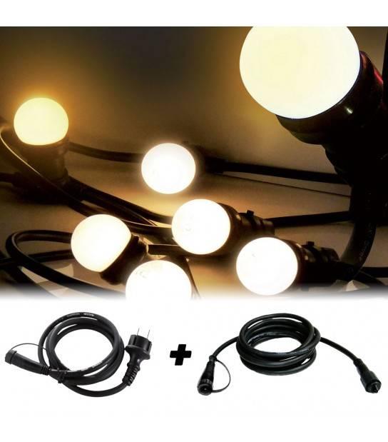 Guirlande Extérieur 5M 8 ampoules E27 1W Blanc Chaud et son adaptateur avec ralonge 2,5M EASY CONNECT - 63040 - GUIRLANDE EASY CONNECT - siageo-led.com