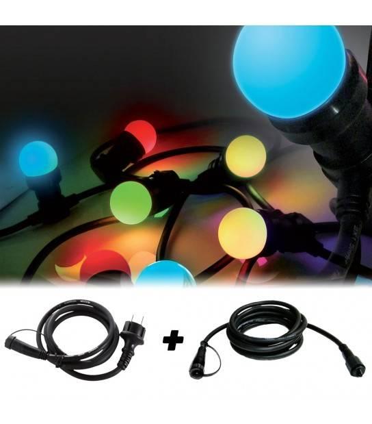 Guirlande Extérieur 5M 8 ampoules E27 1W Multicolor et son adaptateur avec ralonge 2,5M EASY CONNECT - 63045 - GUIRLANDE EASY CONNECT - siageo-led.com