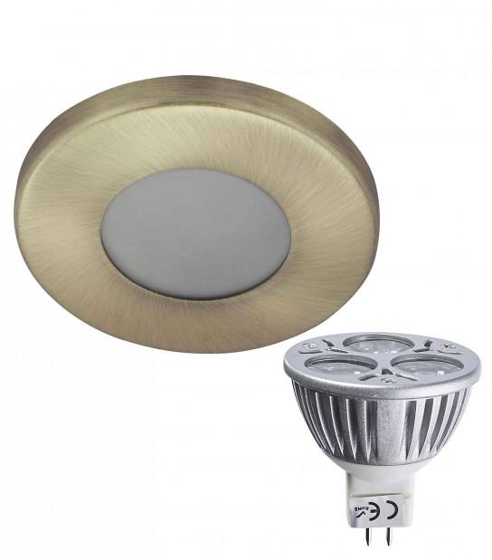 Pack Spot encastrable salle de bain Laiton antique Rond GU5.3 MR16 IP44 6W Blanc Chaud ampoule fournie EDISON - PACK SPOT SALLE DE BAIN - siageo-led.com