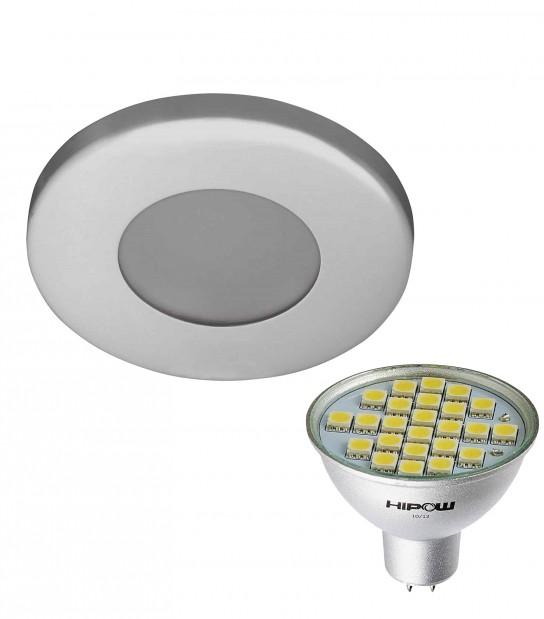 Pack Spot encastrable salle de bain Chrome Rond GU5.3 MR16 IP44 4W Blanc Neutre ampoule fournie HIPOW - PACK SPOT SALLE DE BAIN - siageo-led.com