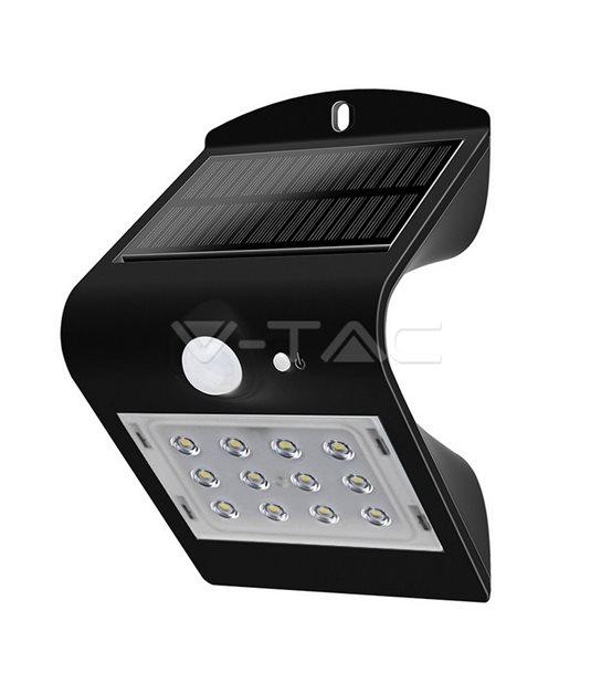 Lampe Murale Solaire Noir 1,5W 220LM IP65 4000K V-TAC - 8277 - PROJECTEUR JARDIN - siageo-led.com