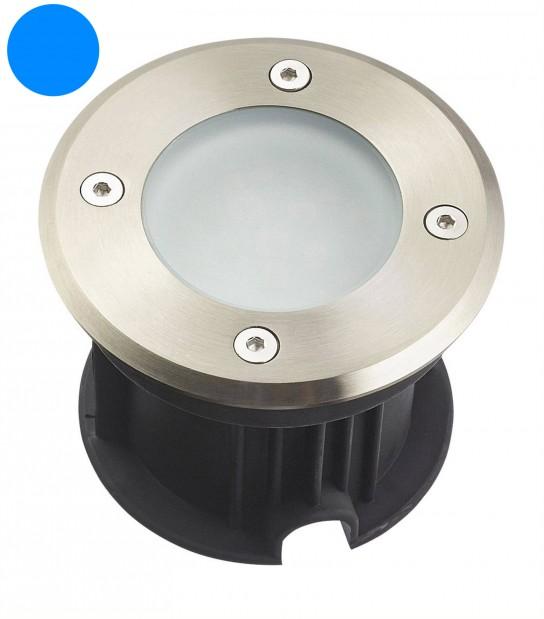Spot encastrable LED SMD VEGAS Inox 316L 12V Rond (montage en série avec 2 presses étoupe) FROST 2W IP67 Bleu HIPOW - SPOT EN SERIE - siageo-led.com