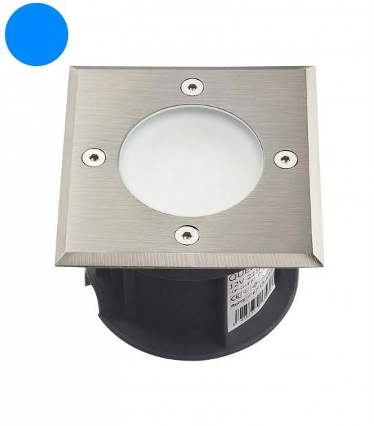 Spot encastrable LED SMD VEGAS Inox 316L 12V Carré (montage en série avec 2 presses étoupe) FROST 2W IP67 Bleu HIPOW - SPOT EN SERIE - siageo-led.com