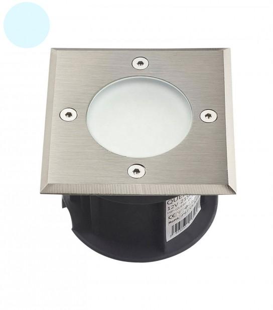 Spot encastrable LED SMD VEGAS Inox 316L 220V Carré (montage en série avec 2 presses étoupe) FROST 2W IP67 Blanc Froid HIPOW - SPOT EN SERIE - siageo-led.com
