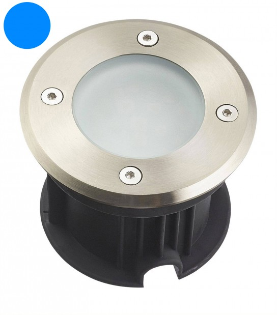 Spot encastrable Rond Inox verre dépoli QUEBEC 1.5W LED SMD intégrées IP67 Bleu extérieur HIPOW - SPOT ENCASTRABLE JARDIN - siageo-led.com
