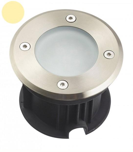 Spot encastrable Rond en Inox 316L verre dépoli QUEBEC 2W LED SMD 2835 220V intégrées IP67 Blanc Chaud extérieur HIPOW - SPOT ENCASTRABLE JARDIN - siageo-led.com