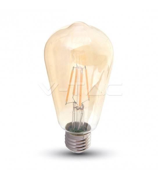 Ampoule LED à filament E27 6W verre ambré Blanc très chaud 2200K V-TAC - 290 - FILAMENT - siageo-led.com