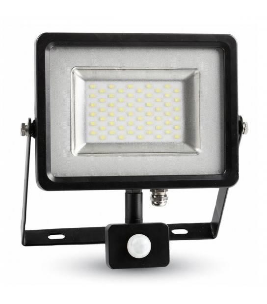 Projecteur LED SMD Floodlight avec capteur 30W 2400LM IP44 3000K Blanc Chaud V-TAC - 5699 - PROJECTEUR JARDIN - siageo-led.com