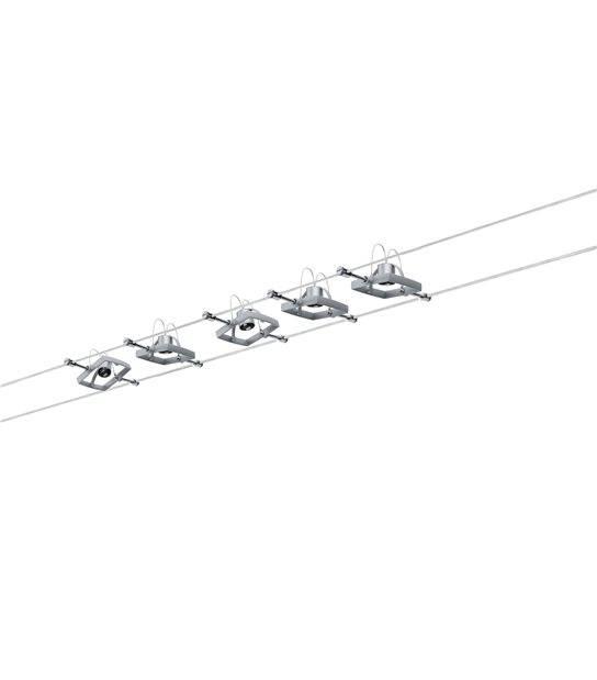 Système câbles Mac II chrome mat GU5.3 5 Spots sans ampoule max10W PAULMANN - 94133 - PLAFONNIER & SUSPENSION DESIGN - siageo-led.com