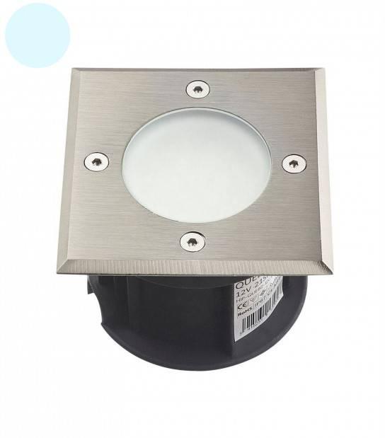 Spot encastrable Carré Inox verre dépoli QUEBEC 2017 1.5W LED SMD intégrées IP67 Blanc Froid 12V extérieur HIPOW - SPOT ENCASTRABLE JARDIN - siageo-led.com