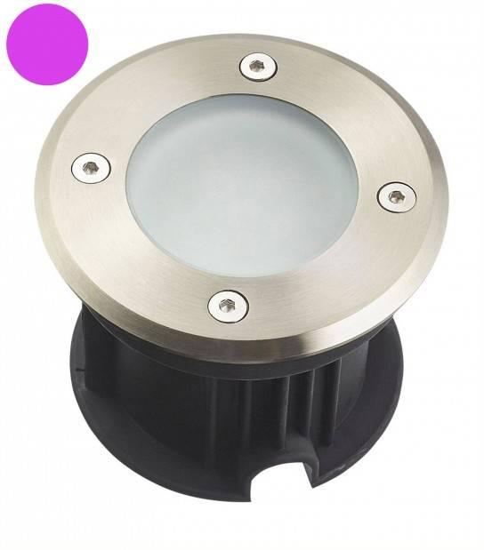 Spot encastrable Rond en Inox 316L verre clair QUEBEC 2W LED SMD 2835 intégrées IP67 Violet extérieur HIPOW - SPOT ENCASTRABLE JARDIN - siageo-led.com