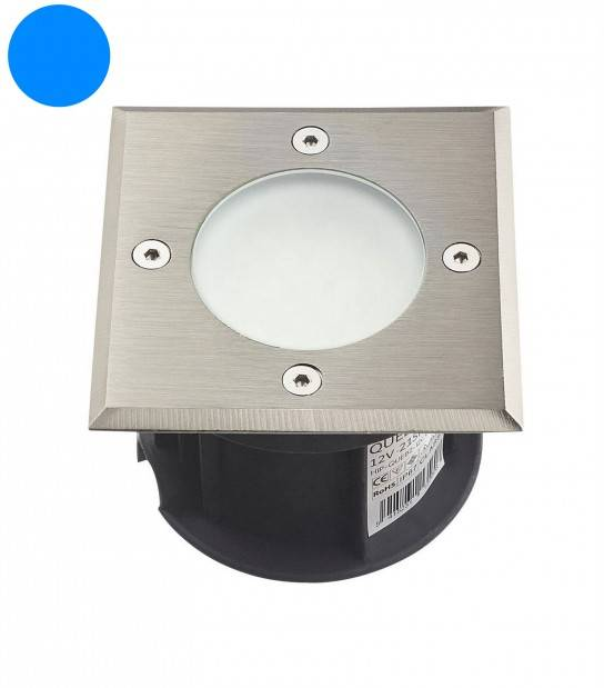 Spot encastrable carré en inox 316L 21 Leds SMD 2835 QUEBEC tension 12V Bleu IP67 HIPOW - SPOT ENCASTRABLE JARDIN - siageo-led.com