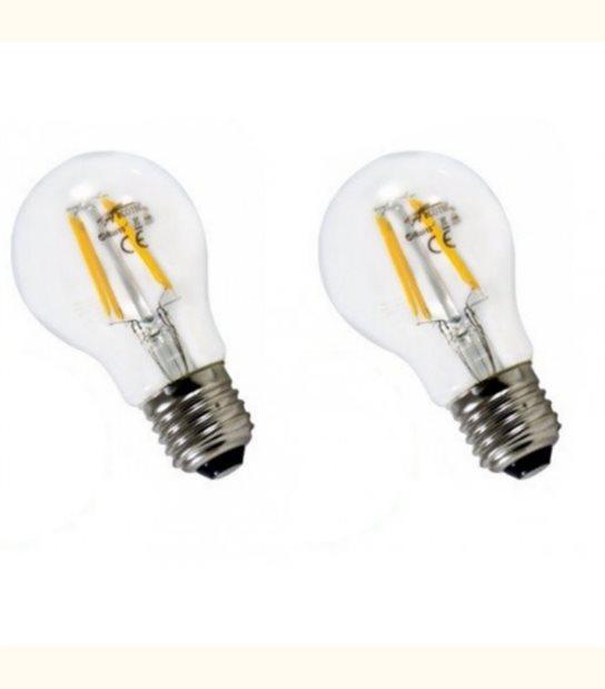 Lot de 2 ampoules led filament E27 6 watt (eq. 60 watt) - Couleur - Blanc chaud 2700°K - OLD-LEDFLASH - siageo-led.com