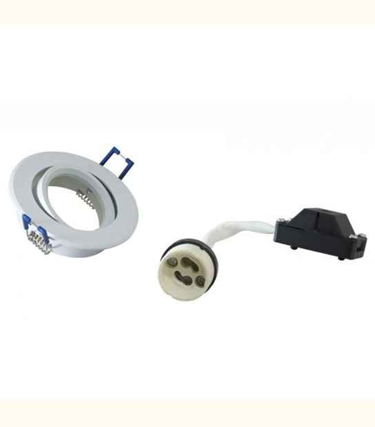 Support spot orientable blanc 80mm + douille GU10 - Finition - Blanc - OLD-LEDFLASH - siageo-led.com