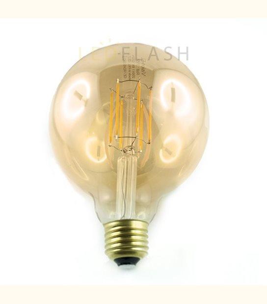 Ampoule led E27 filament G95 8 watt (eq. 70 watt) - Couleur - Blanc chaud 2700°K, Finition - Ambrée - OLD-LEDFLASH - siageo-led.com