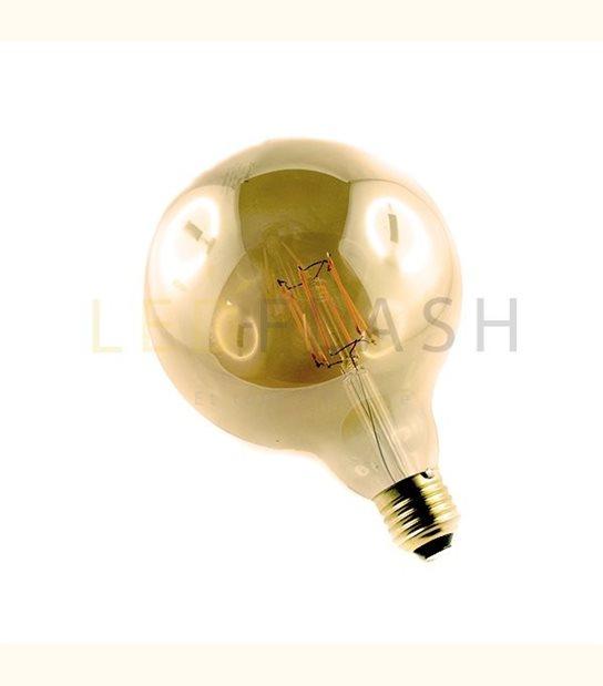 Ampoule led E27 filament G125 8 watt (eq. 70 watt) - Couleur - Blanc chaud 2700°K, Finition - Ambrée - OLD-LEDFLASH - siageo-led.com