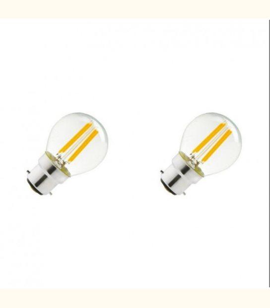 Lot de 2 ampoules led G45 filament B22 4 watt (eq. 40 watt) - Couleur - Blanc chaud 2700°K - OLD-LEDFLASH - siageo-led.com