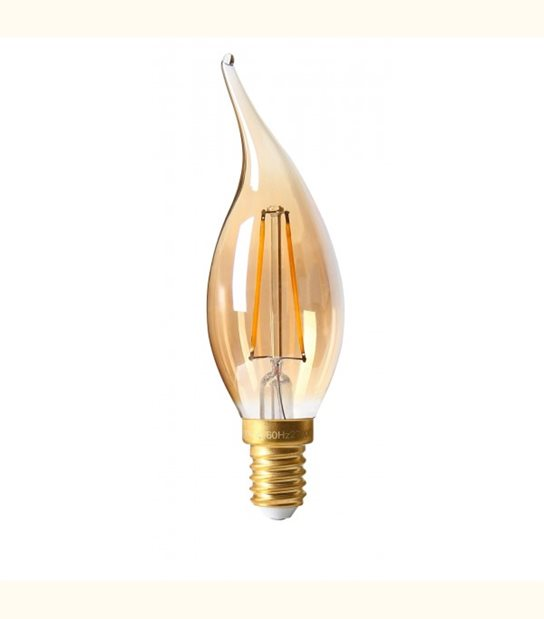 Filament LED Coup de vent E14 2 watt (eq. 20 watt) GIRARD SUDRON - Couleur - Blanc chaud 2500°K, Finition - Ambrée - OLD-LEDFLASH - siageo-led.com