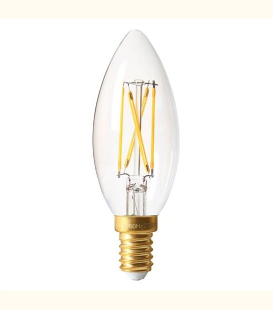 Filament LED Flamme E14 5 watt (eq. 60 watt) GIRARD SUDRON - Couleur - Blanc chaud 2700°K, Finition - Claire - OLD-LEDFLASH - siageo-led.com