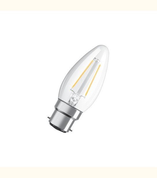 Ampoule led Flamme B22 2,1 watt (eq. 25 watt) Retrofit OSRAM - Couleur - Blanc chaud 2700°K, Finition - Claire - OLD-LEDFLASH - siageo-led.com