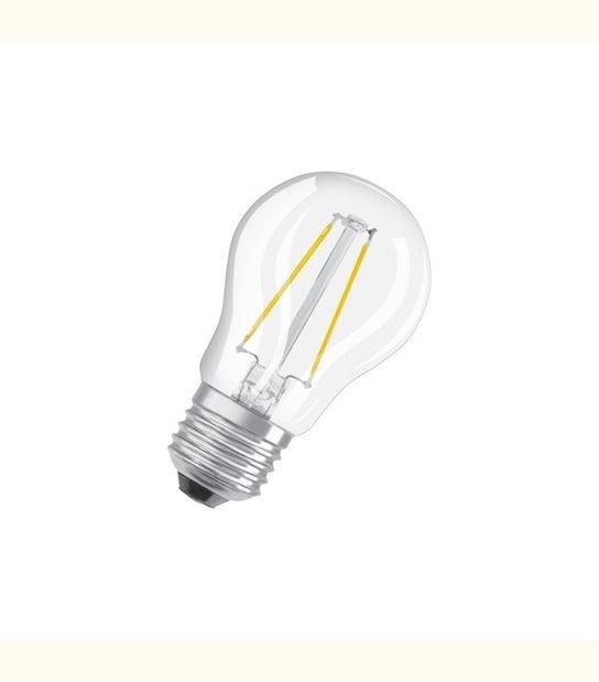 Ampoule led Sphérique E27 2 watt (eq. 25 watt) Retrofit OSRAM - Couleur - Blanc chaud 2700°K, Finition - Claire - OLD-LEDFLASH - siageo-led.com