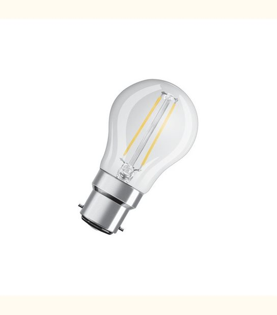 Ampoule led Sphérique B22 2,1 watt (eq. 25 watt) Retrofit OSRAM - Couleur - Blanc chaud 2700°K, Finition - Claire - OLD-LEDFLASH - siageo-led.com