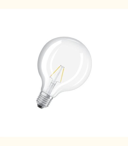 Ampoule led Globe E27 2 watt (eq. 25 watt) Retrofit OSRAM - Couleur - Blanc chaud 2700°K, Finition - Claire - OLD-LEDFLASH - siageo-led.com