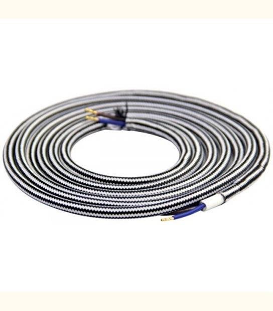 Câble textile rond double isolation couleur - 2 mètres - DIY - Couleur - Noir et blanc - OLD-LEDFLASH - siageo-led.com