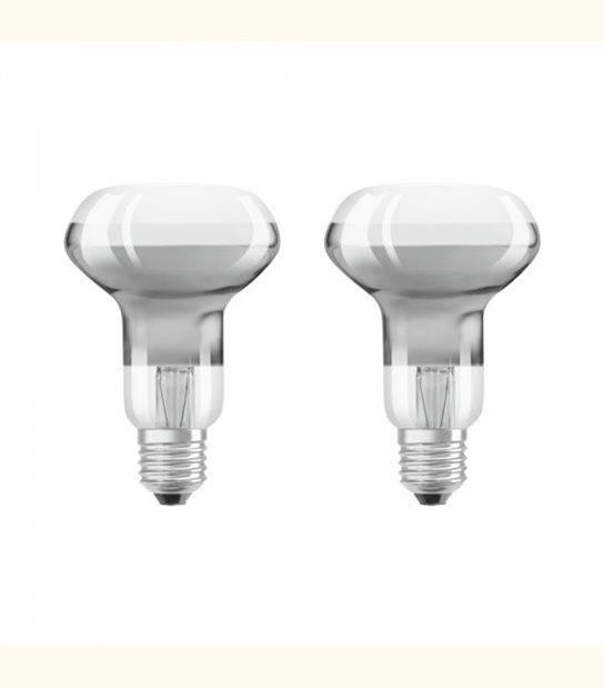 Lot de 2 ampoules LED E27 R63 verre clair 4 watt (eq. 30 watt) blanc chaud - OLD-LEDFLASH - siageo-led.com