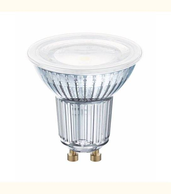 Spot LED GU10 PAR16 120° verre 6,9 watt (eq. 80 watt) - Couleur - Blanc chaud 3000°K - OLD-LEDFLASH - siageo-led.com