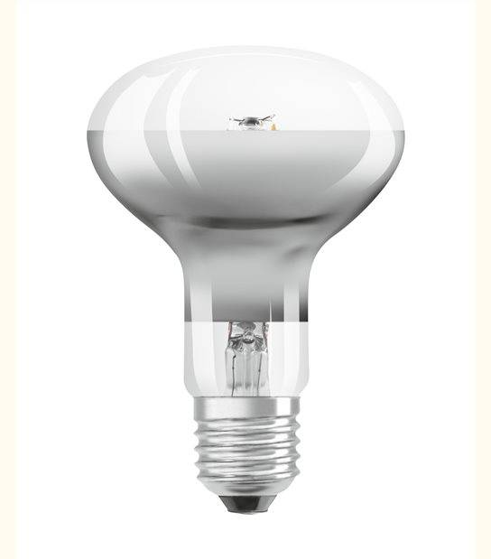 Ampoule LED E27 R80 verre clair 4 watt (eq. 30 watt) blanc chaud - OLD-LEDFLASH - siageo-led.com