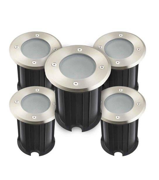 Pack de 5 Spots encastrables ronds Inox Plein 316L Verre dépoli ORLANDO GU5.3 IP67 12V extérieur HIPOW - CYBER WEEK - siageo-led.com