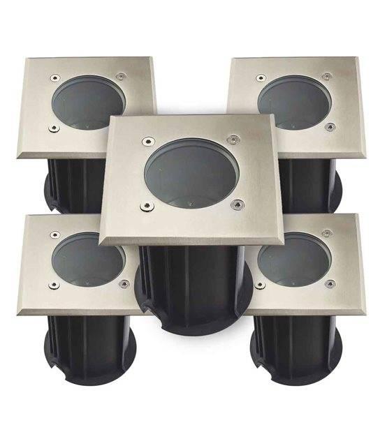 Pack de 5 Spots encastrables carrés Inox Plein 316L Verre dépoli ORLANDO GU5.3 IP67 12V extérieur HIPOW - CYBER WEEK - siageo-led.com