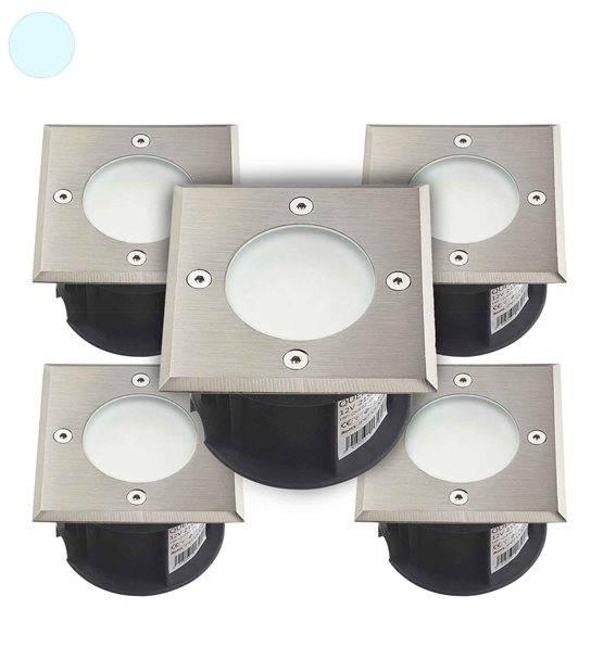 Pack de 5 Spots encastrables carrés en inox 316L 20 Leds SMD QUEBEC tension 220V Blanc Froid IP67 HIPOW - SPOT ENCASTRABLE JARDIN - siageo-led.com