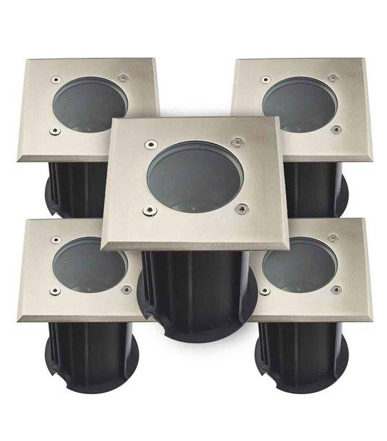 Pack de 5 Spots encastrables carrés MIAMI Inox 316L (montage en série avec 2 presses étoupe) FROST GU10 220V IP67 HIPOW - ENCASTRABLE JARDIN - siageo-led.com