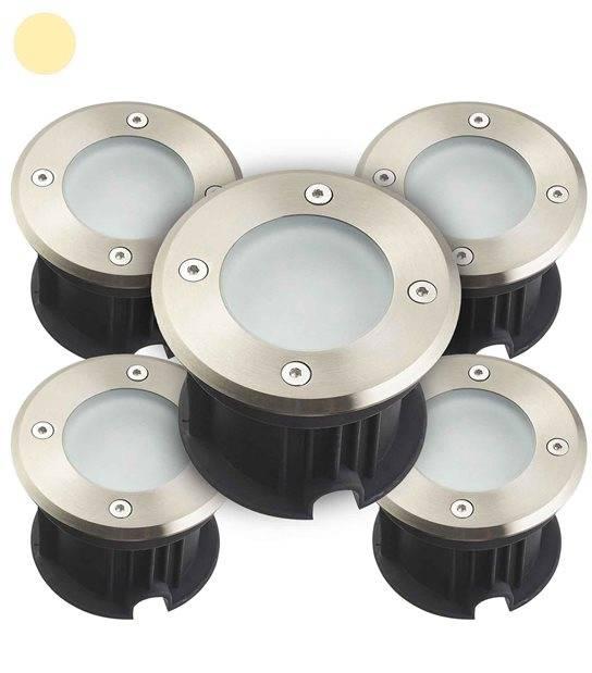 Pack de 5 Spots encastrables ronds en Inox 316L verre dépoli QUEBEC 2W LED SMD 2835 220V intégrées IP67 Blanc Chaud extérieur HI - SPOT ENCASTRABLE JARDIN - siageo-led.com
