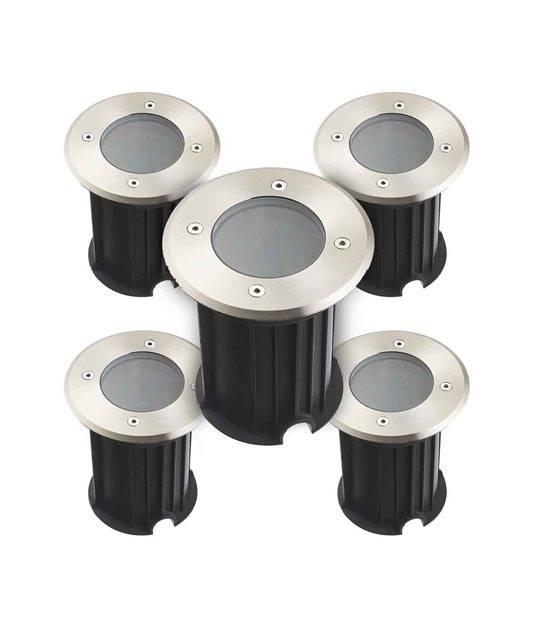 Pack de 5 Spots encastrables ronds TORONTO V2 INOX 316L (montage en série avec 2 presses étoupe) CLEAR GU5.3 12V IP67 HIPOW - SPOT EN SERIE - siageo-led.com