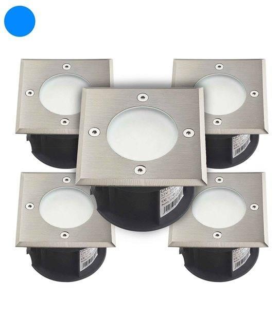 Pack de 5 Spots encastrables carrés en inox 316L 21 Leds SMD 2835 QUEBEC tension 12V Bleu IP67 HIPOW - SPOT ENCASTRABLE JARDIN - siageo-led.com