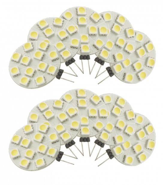Pack de 10 Ampoule LED G4 à 12 SMD5050 2.7W 180Lm (équiv 25W) Blanc Froid 150° 12V HIPOW - AMPOULE G4 - siageo-led.com