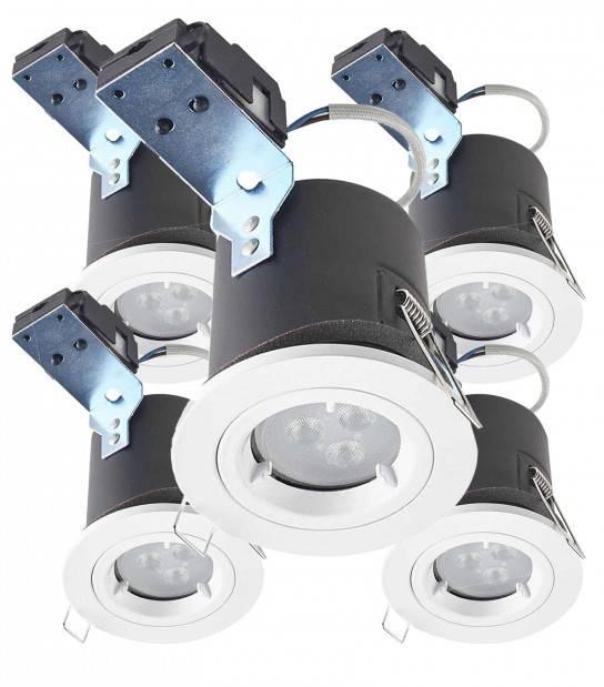 Pack de 5 Spot encastrable spécial faux plafond isolé BASTIA Blanc Rond GU10 IP20 HIPOW - ETANCHE SALLE DE BAIN - siageo-led.com